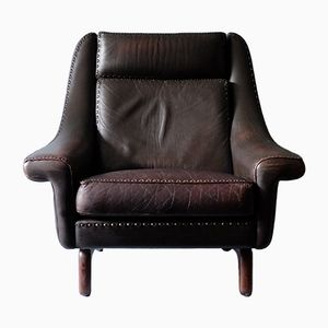 Matador Leather Lounge Chair by Aage Christiansen for Erhardsen & Andersen, 1960s