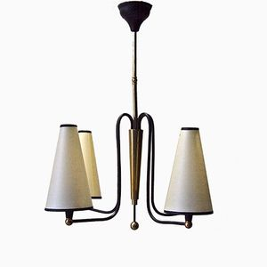 French Black Lacquered Brass Chandelier, 1950s