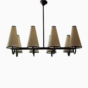 Black Lacquered French Chandelier, 1950s