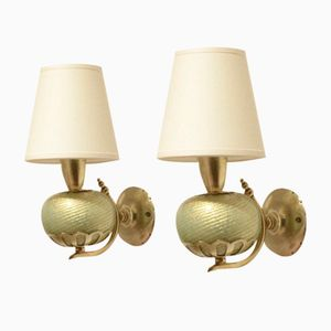 Murano Glass & Brass Wall Sconces Lamps by Barovier & Toso, 1930s, Set of 2