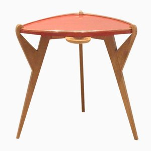 Mid-Century French Oak & Red Lacquered Wood Side Table