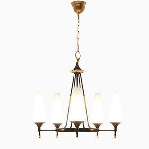 French Brass & Conical Opalescent Glass Chandelier, 1950s