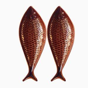 Swedish Ceramic Fish Shaped Trays by Stig Lindberg for Gustavsberg, 1960s, Set of 2