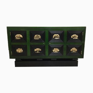 Green & Black French Art Deco Sideboard, 1930s