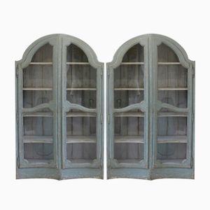 Antike Kloster Bücherregale mit Glastüren, 2er Set