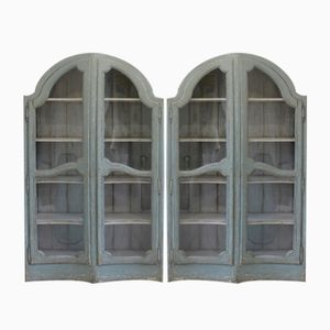 Antique Concave Glass Bookcases, Set of 2