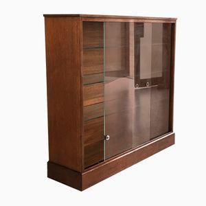 Teak Bookcase with Sliding Glass Doors, 1970s