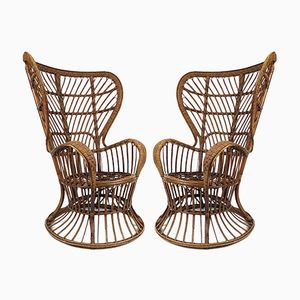 Mid-Century Rattan Lounge Chairs by Gio Ponti for Bonacina, Set of 2