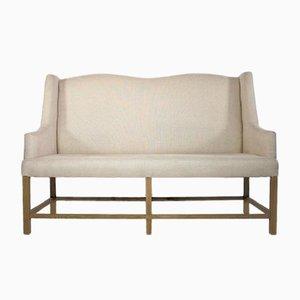 Vintage High Back Sofa with Wooden Frame