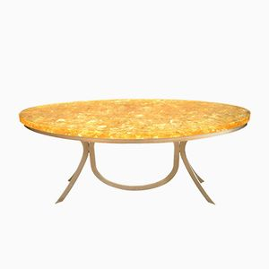 Dining Table in Yellow Fractal Resin by Jean Brand for Atelier Janus, 1970s