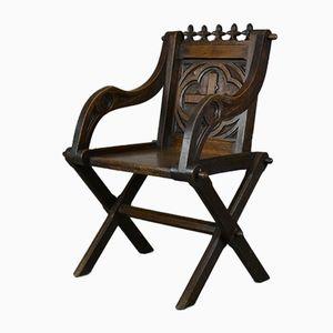 Antiker Gotischer Eichenholz Glastonbury Stuhl