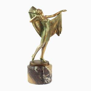 Österreichische Art Deco Bronze Figur von Lorenzl, 1920er