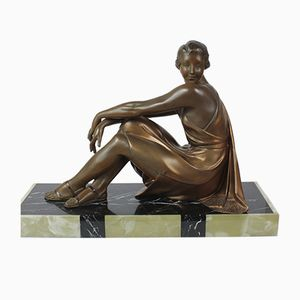 Figura Art Déco in spelter di Dalson, Francia, anni '30