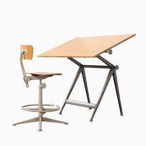 Table à Dessin & Chaise Vintage par Wim Rietveld & Friso Kramer pour Ahrend De Cirkel