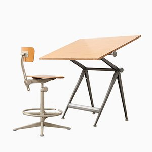 Vintage Drafting Table & Chair by Wim Rietveld & Friso Kramer for Ahrend De Cirkel