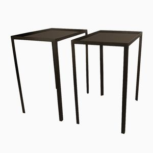 Black Opaline Glass Side Tables, 1960s, Set of 2