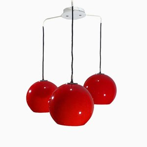 Red Opaline Glass Ceiling Lamp, 1960s