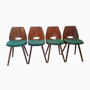 Art Deco Buchenholz Esszimmerstühle von Tatra Pravenec, 1960er, 4er Set