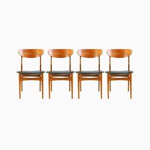 Danish Teak Dining Chairs with Skai, 1960s, Set of 4