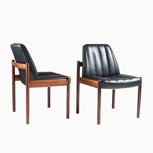Easy Chairs in Rosewood and Leather by Sven Ivar Dysthe for Dokka MØBLER, 1960s, Set of 2