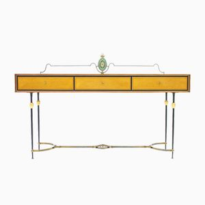 Italian Brass & Mirror Console Table, 1960s