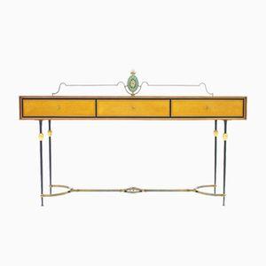 Table Console en Laiton & Miroir, Italie, 1960s
