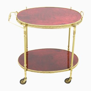 Italian Red Goatskin & Brass Bar Cart by Aldo Tura, 1960s