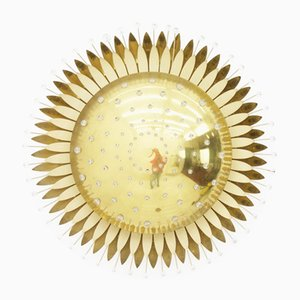 Large Austrian Brass & Glass Sunburst Wall Light by Emil Stejnar for Rupert Nikoll, 1950s