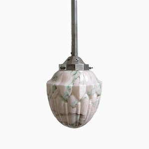 Art Deco Pendant with Carved Glass Sphere