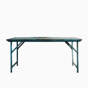 Vintage German Blue Folding Street Café Table, 1950s