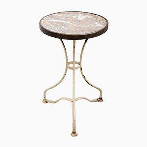 Table de Bistrot Antique avec Plateau en Marbre, 1890s