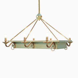 French Chandelier in Brass, Metal, and Glass, 1950s