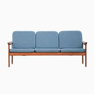 Danish Sofa in Teak & Blue Fabric, 1960s