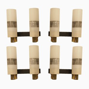 Mid-Century French Brass & Textured Glass Wall Sconces from Arlus, Set of 4