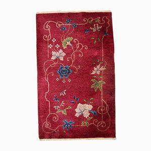 Handmade Red Chinese Art Deco Rug, 1920s
