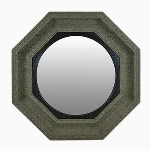 Large Mid-Century Convex Mirror with Crushed Mineral Frame
