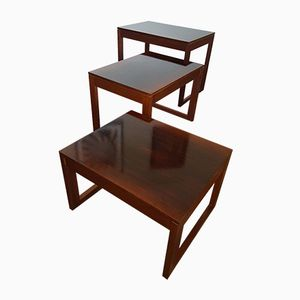 Mid-Century Danish Rosewood Nesting Tables with Sleigh Legs