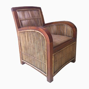 Spanish Art Deco Wood & Bamboo Club Chair, 1960s