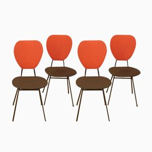 Chairs in Red and Black with Compass Feet by Jacques Hitier, 1950s, Set of 4