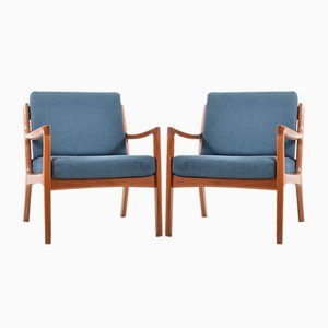 Senator Lounge Chairs in Teak by Ole Wanscher for France & Søn, 1960s, Set of 2