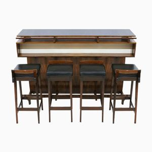 Rosewood Dry Bar Cabinet and 4 Bar Stools from Dyrlund