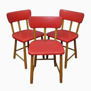 Rote Schwedische Stühle, 1950er, 3er Set