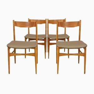 Teak & Grey Leatherette Chairs, 1950s, Set of 4