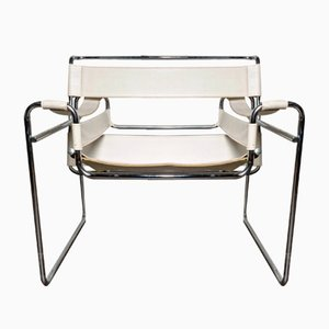 Vintage White Wassily Chair by Marcel Breuer