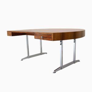Vintage Half Round Rosewood & Chrome President Desk