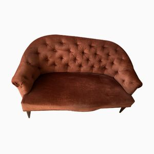 Small Mid-Century Chocolate Brown Velvet Sofa