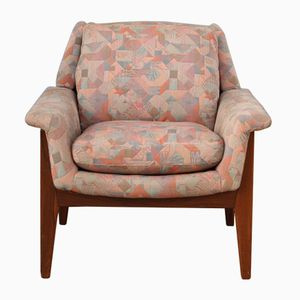 Vintage Dutch Rosewood Armchair in Abstract Fabric from Bovenkamp