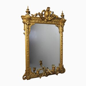 Antique Ornate Gilt Girandole Mirror