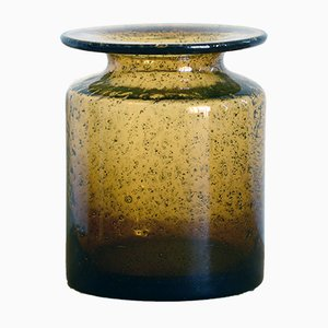 Vase Couleur Ambre en Verre Soufflé par Erik Hoglund pour Kosta Boda, 1960s