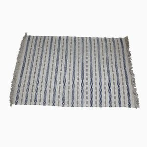 Swedish Patterned Rug in Gray, Blue, and Beige Wool, 1960s
